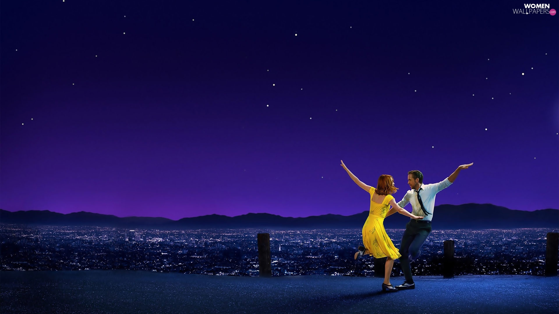dance, Emma Stone, Ryan Gosling, movie, City at Night, La La Land