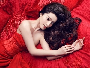 Black, Hair, red hot, dress, Fan Bingbing