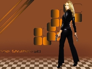text, Yvonne Strahovski, Weapons, Blonde, Women, heels, make-up