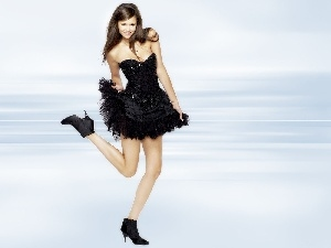 Nina Dobrev, boots, dress, Black